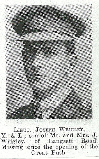 Three months later his father John Wrigley received another letter although this time it was from the British Red Cross - josephwrigley